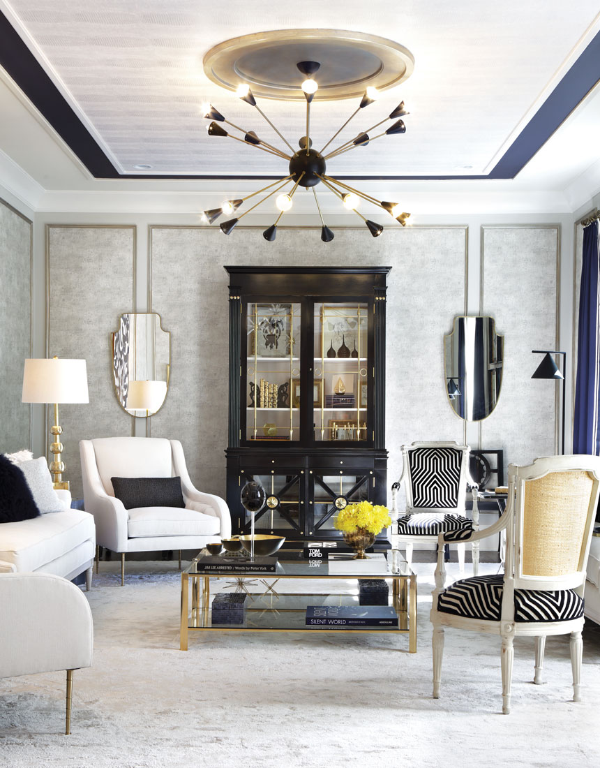 living room design planner decorating ideas for apartments cheap designer showhouse of new jersey designnj ceiling mcgee considered the fifth wall and decked it out in wallpaper trim paint an eye catching light fixture medallion