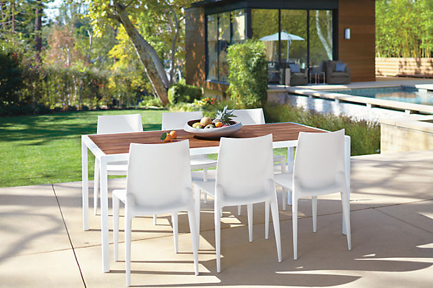 Wood Top Amp White Metal Frame Outdoor Dining Table Design