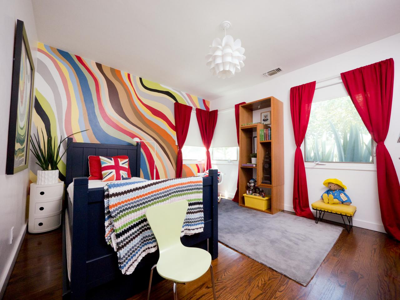 Rainbow color is one option to decor 12 years old bedroom