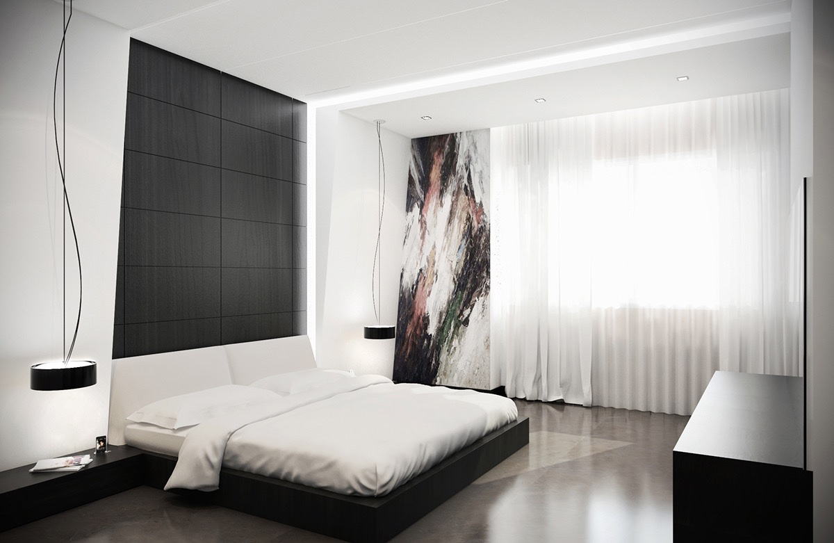 white bedroom concept with small touch of black