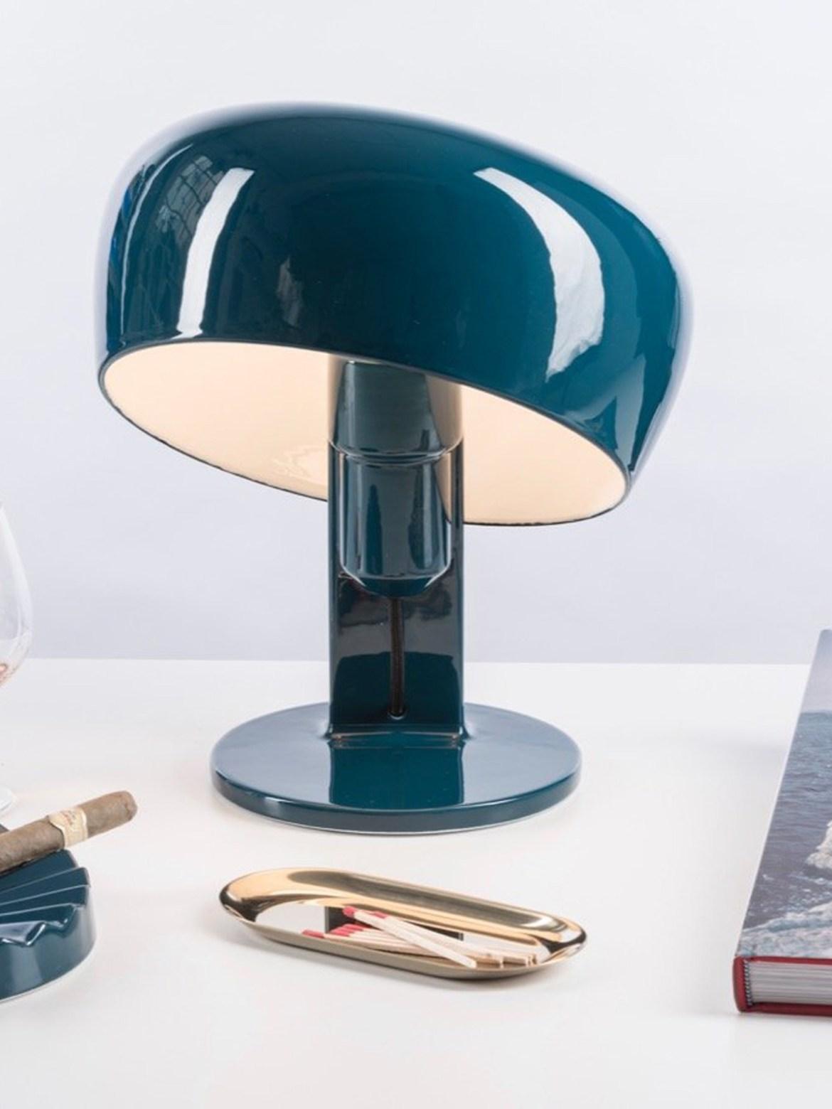 DesignOrt Blog: Designerleuchten in Blau Formagenda Coppola Tischlampe Petrol