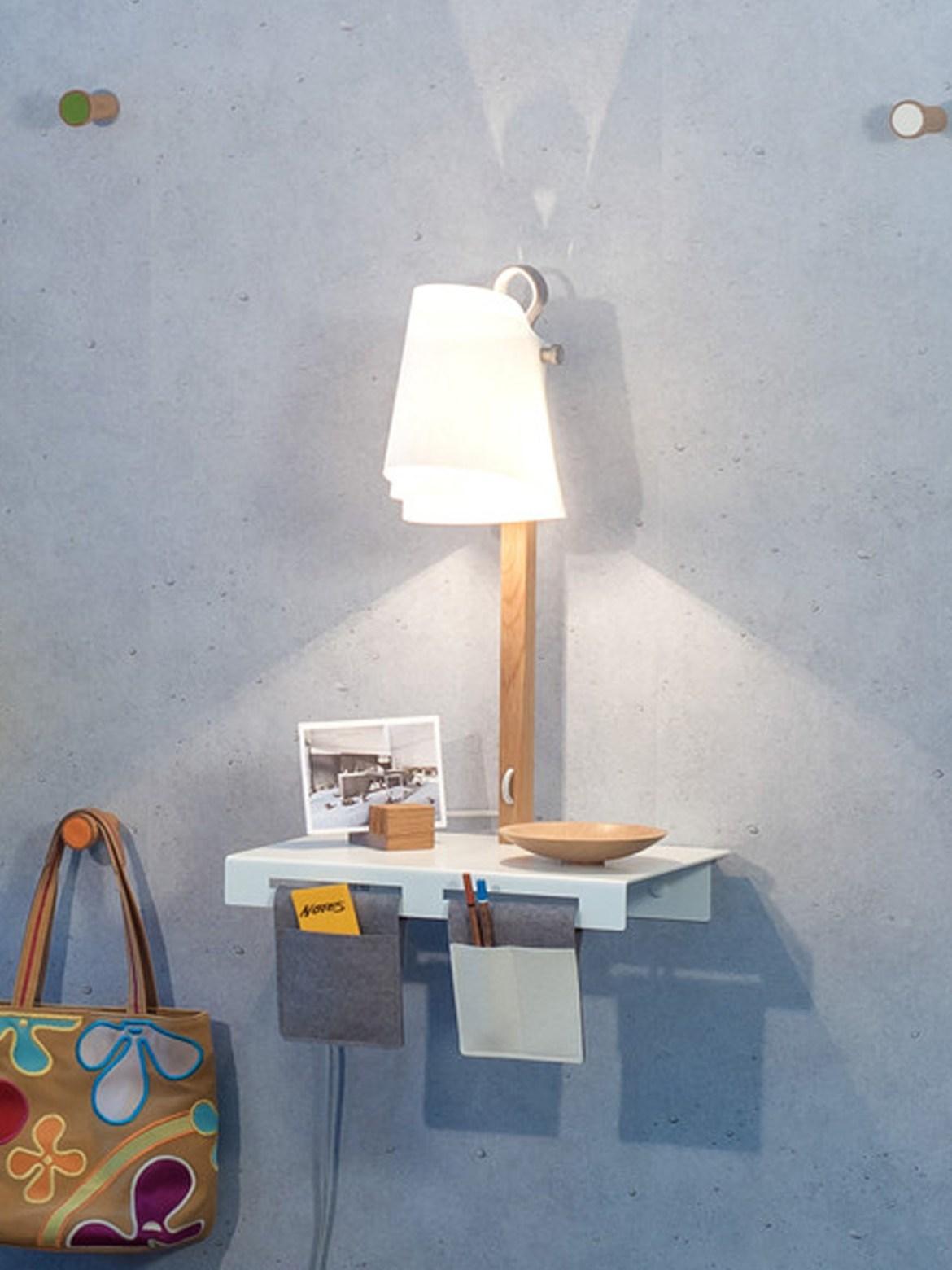 DesignOrt Blog: Ausgefallene Designerleuchten Wandlampe mit Regal Domus Licht