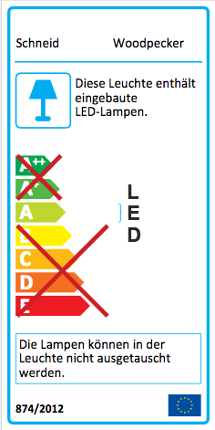 Energie Label Schneid Woodpecker LED Wandleuchte