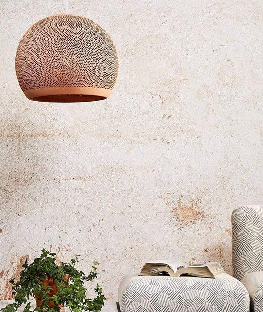 Keramikleuchte Tonleuchte Designerleuchte SpongeUp Rot