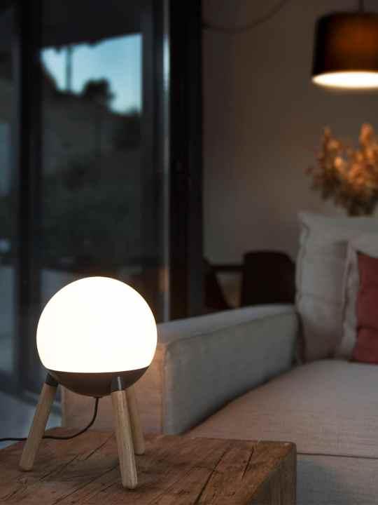 Tisch Lampe Mine Table Faro Holz und Glas