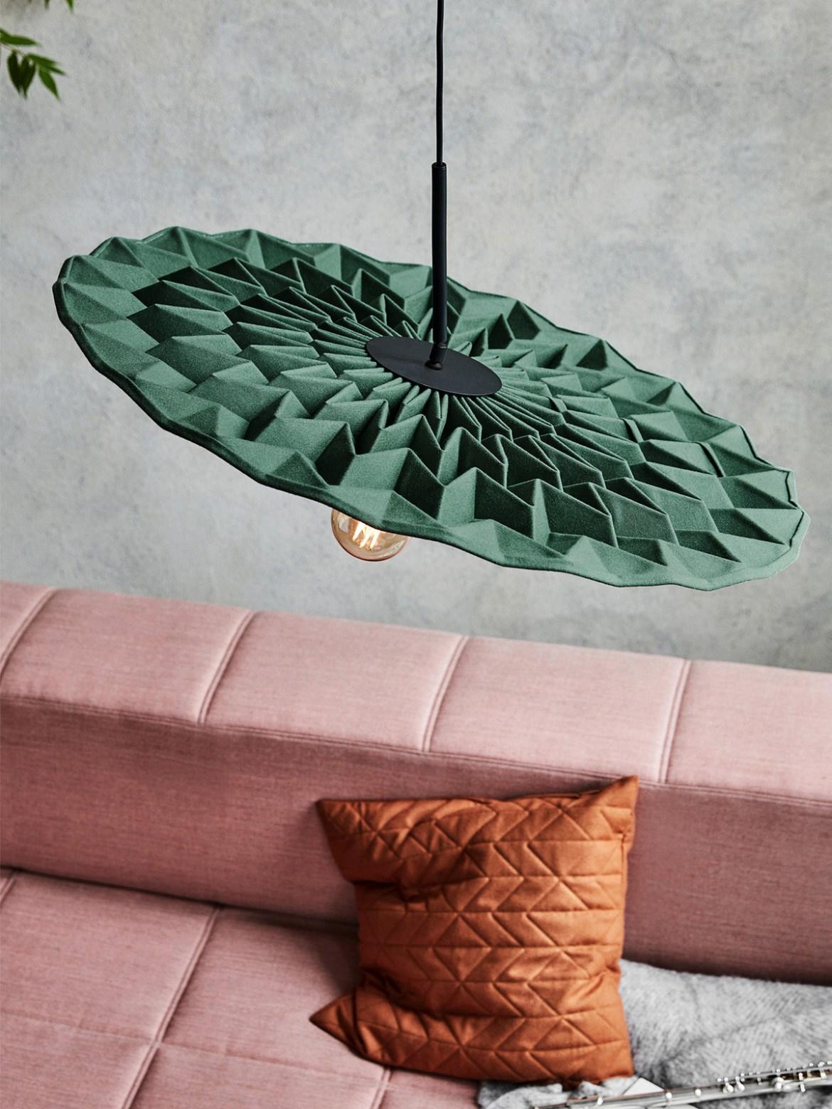 DesignOrt Blog: Trend: Nackte Glühbirne Northern Lighting Fold Lampe aus Wolle - dämmt Schall