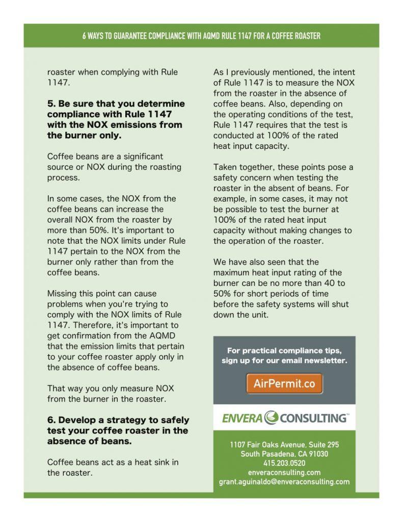 Brochure Design: Envera Consulting - Rule 1147 Coffee Roaster - Back