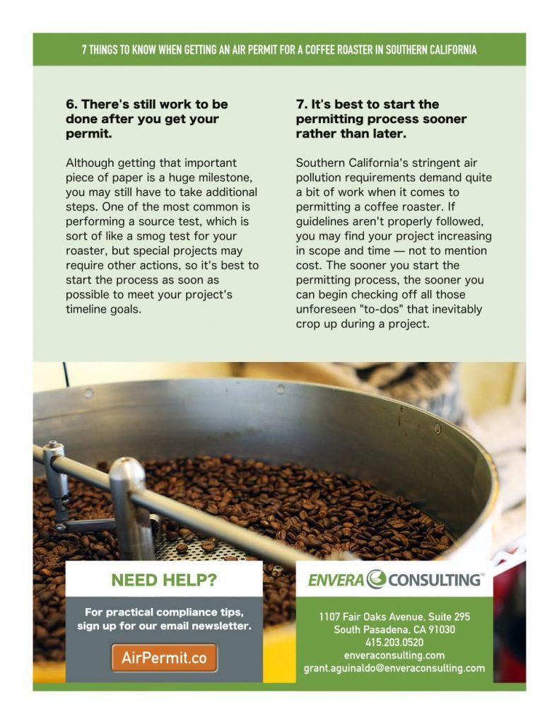 Brochure Design: Envera Consulting - Coffee Roaster Permitting - Back