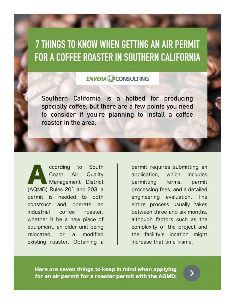 Brochure Design: Envera Consulting - Coffee Roaster Permitting - Front