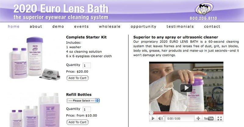 Website 2020 Euro Lens Bath WordPress WP e-Commerce 800