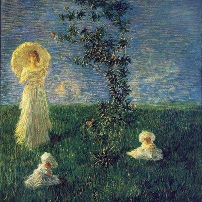 Gaetano Previati: Nel prato , olio su tela, 1890, Galleria d'Arte Moderna di Palazzo Pitti, Firenze