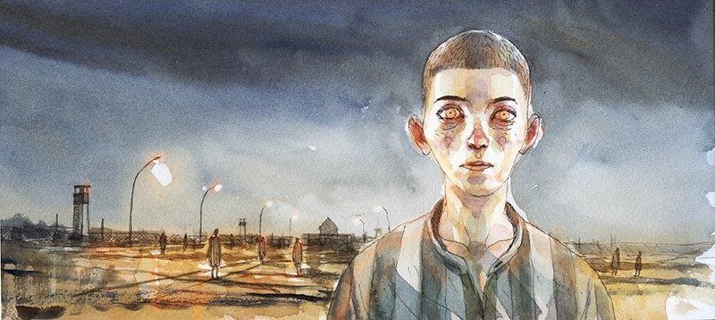 illustrazione per Domandatemi di Auschwitz art di Giovanni Di Lorenzo intervista di Renate Lasker-Harpprecht, 2014 © Gipi