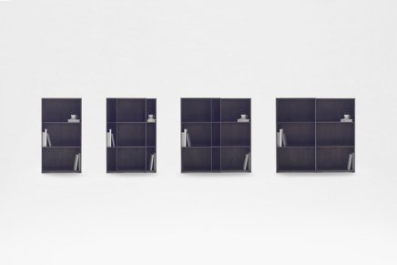 """nest shelf"". La libreria estensibile di Nendo"