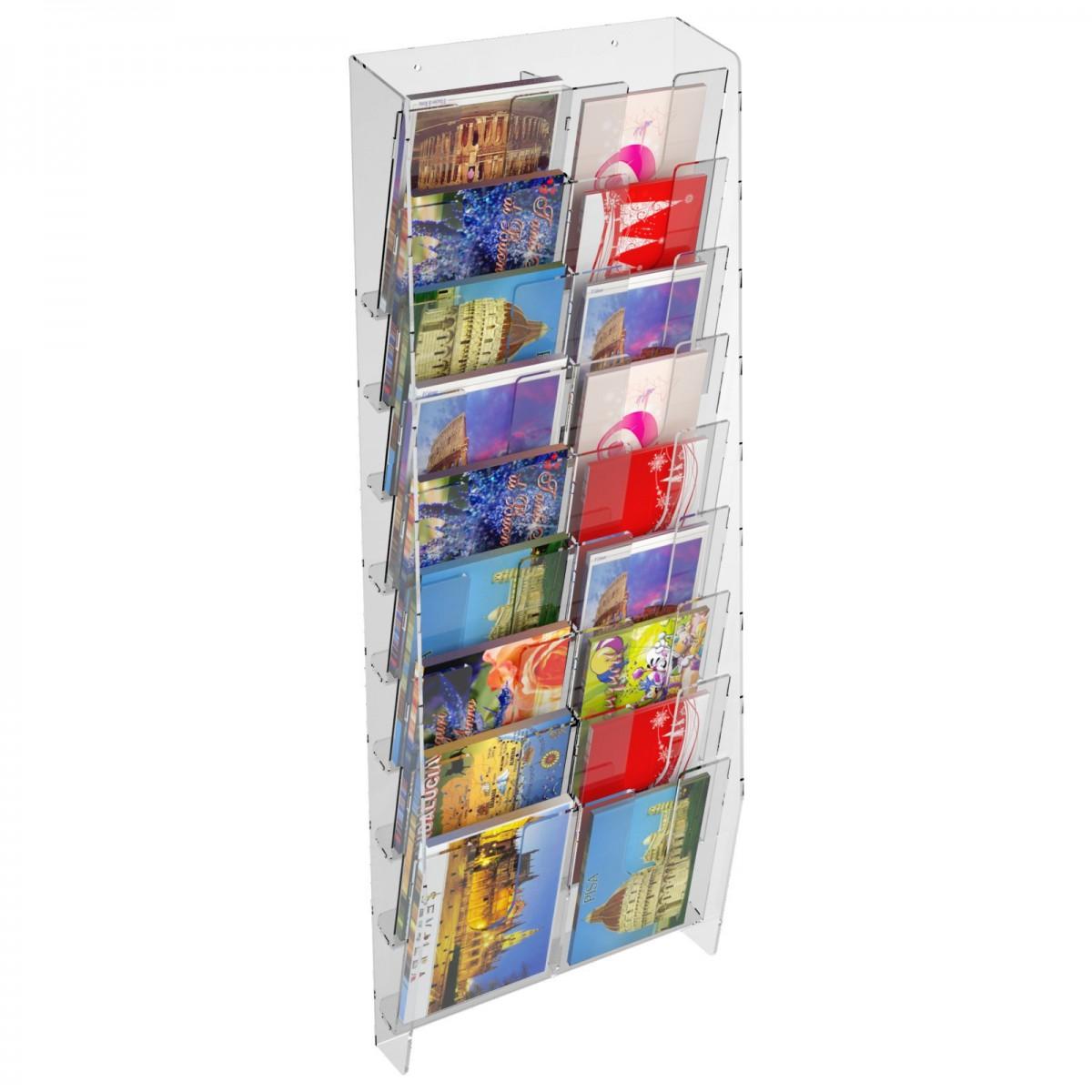 presentoir mural porte cartes postales avec 18 poches