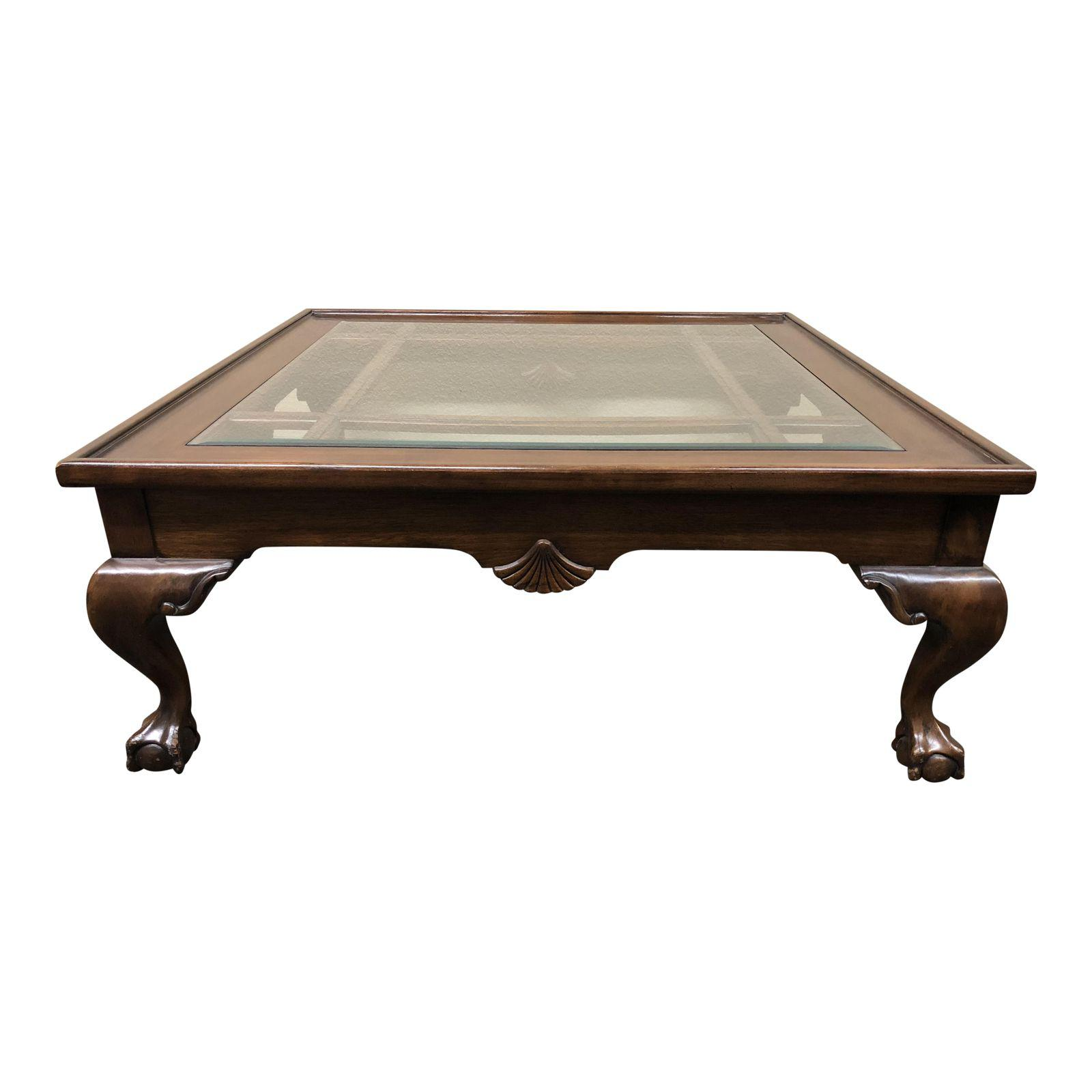 square wood glass insert coffee table