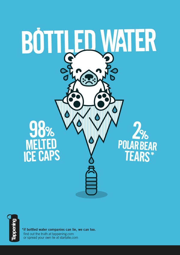 Bottled water: 98% melted icecap. 2% polar bear tears Print Ad