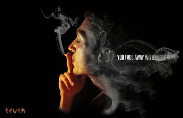 You fade away with every puff Print ad