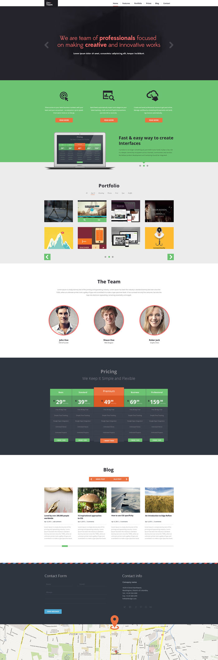 DevTeam Flat Web Design Inspiration