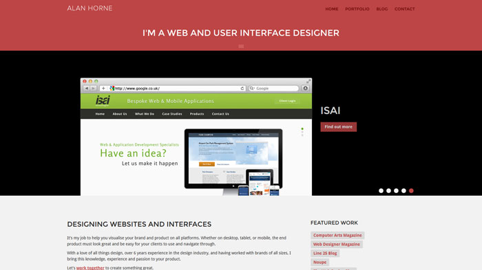 alan-horne.com Flat Web Design Inspiration