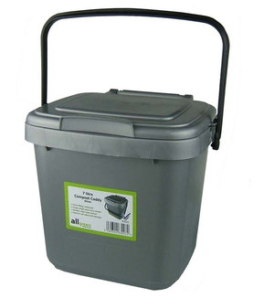 kitchen caddy white cabinets lowes bins with compost anti odour filters all green 7 litres bin black handle