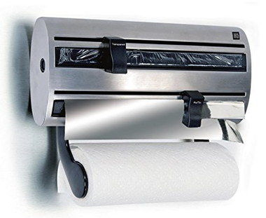 dispenser kitchen how to build an outdoor top 10 roll cling film tin foil dispensers rated 3 in 1 brushed steel