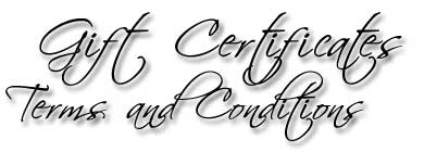 Designs by Debi Handmade Jewelry Gift Certificates Terms