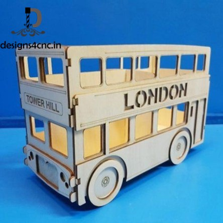 London bus for laser cutting vector