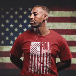 RED Fridays American FLAG US Military Support T-Shirt Design