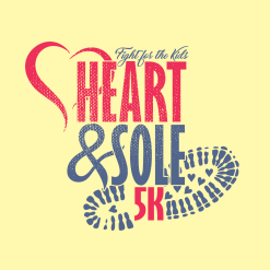 Cancer Race T Shirt | Heart & Sole 5K Race Fight for the Kids Distressed Childhood Cancer Awareness Custom T-Shirt Design Template