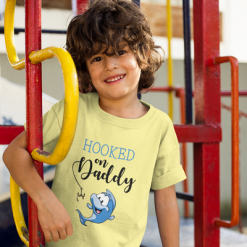 Hooked on Daddy Blue Cartoon Fish T-Shirt Design