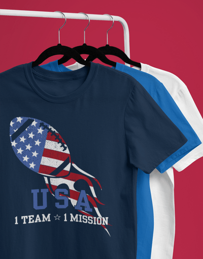 Patriotic Football USA America Team Mission July 4th T-shirt Design