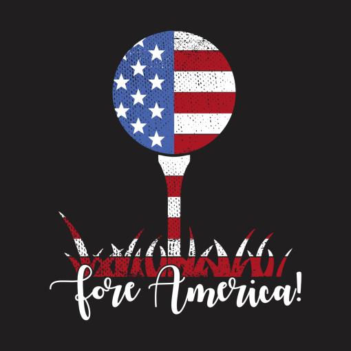 Patriotic Golf T Shirt Design USA Flag Fore America T-Shirt Design