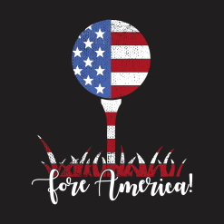 Patriotic Golf T Shirt Design USA Flag Fore America T-Shirt Design