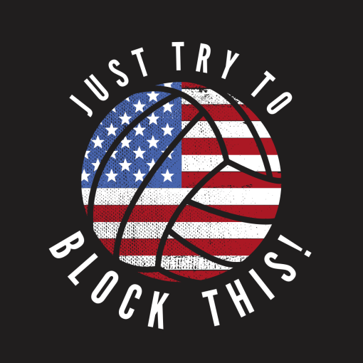 Patriotic Volleyball T Shirt Design USA Flag America Block This T-shirt design