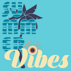 Summer Vibes Shirt | Teal Beach Summer Vacation T-Shirt Print Design