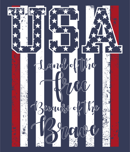 USA Flag Shirts | Land of The Free Because of The Brave USA Proud Patriotic T-Shirt Design