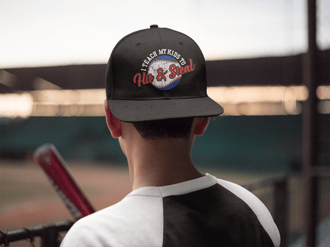Hit & Steal Baseball Ready-to-Print T-Shirt Design on Hat ball cap