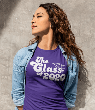 Seniors Retro The Class of 2020 Graduation Year Cap T-Shirt Design T-Shirt Designs That Sell_cropped