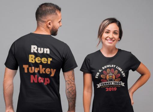 Turkey Trot T Shirts 5K Thanksgiving Race T-Shirt Print Design Template Run Beer Turkey Nap Back Design