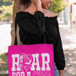 Breast Cancer Awareness T-Shirt Design Roar For A Cure vector t-shirt graphic logo tote bag