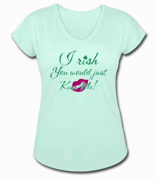 Irish You Would Just Kiss Me T Shirt St Patrick's Day T Shirt Design Shamrock & Lips