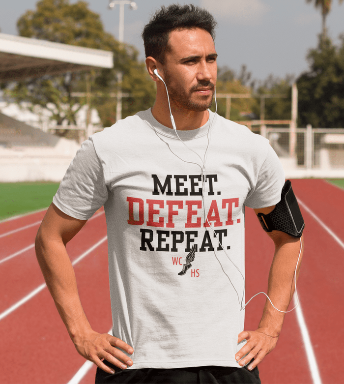 Track Meet T Shirt Design Template - Track & Field Meet Defeat Repeat Custom Design track and field slogans for t shirts shirt sayings and catchy track and field slogans