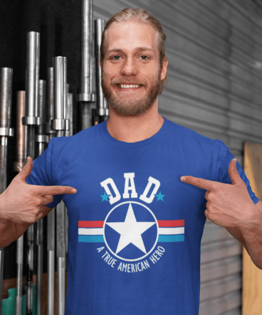 DAD T Shirt Design - DADDY PAPA - A True American Hero - Father's Day SVG 1