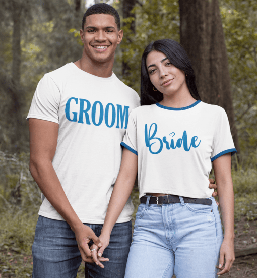 Best Bridal Party Shirts - Wedding Engagement SVG Design Bundle - 14 SVG & PNG Ready-to-Print Designs - Bride and Groom T-Shirts