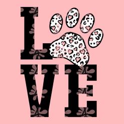 LOVE Dog Paw Print SVG Shirt Design - Dog Mom SVG - Leopard Print Heart SVG Dog Lover Shirts Design
