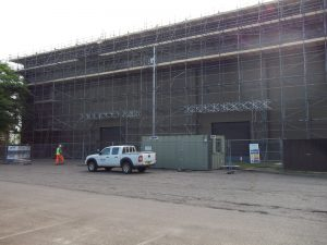 Scaffolding built around the RAF hanger.