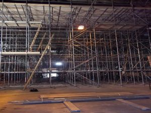 Scaffolding on the inside of the RAF haner.