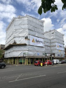 Scaffolding constructed around the Belsyre Court Building.