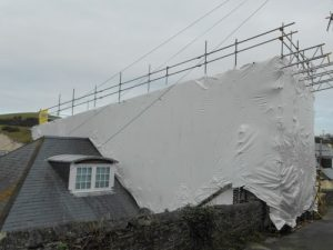 Temporary roof at Island Street, Salcombe