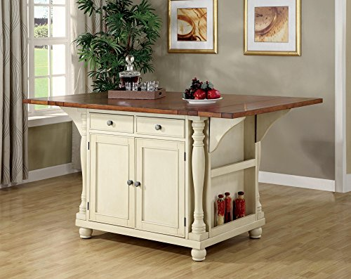 3: Coaster Large Scale Kitchen Island In A Buttermilk And Cherry Finish